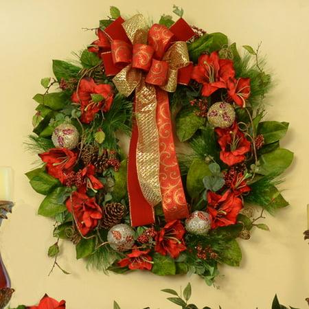 Floral home decor amaryllis 28 39 39 christmas wreath for Amaryllis christmas decoration