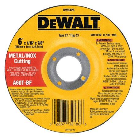 Dewalt Type 27 Cutting Wheel, 6 in Dia, 7/8 in, 60 Grit, Medium Grade, 10100 rpm, Resin, Aluminum Oxide 25 Pack