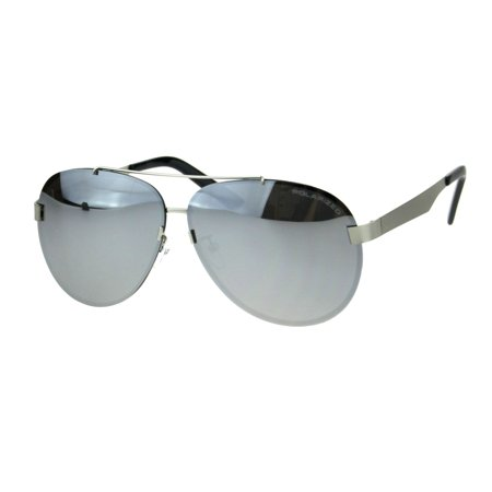 Metal Polarized Mirror (Polarized Mirror Exposed Edge Luxury Designer Pilots Metal Rim Sunglasses Silver Mirror )