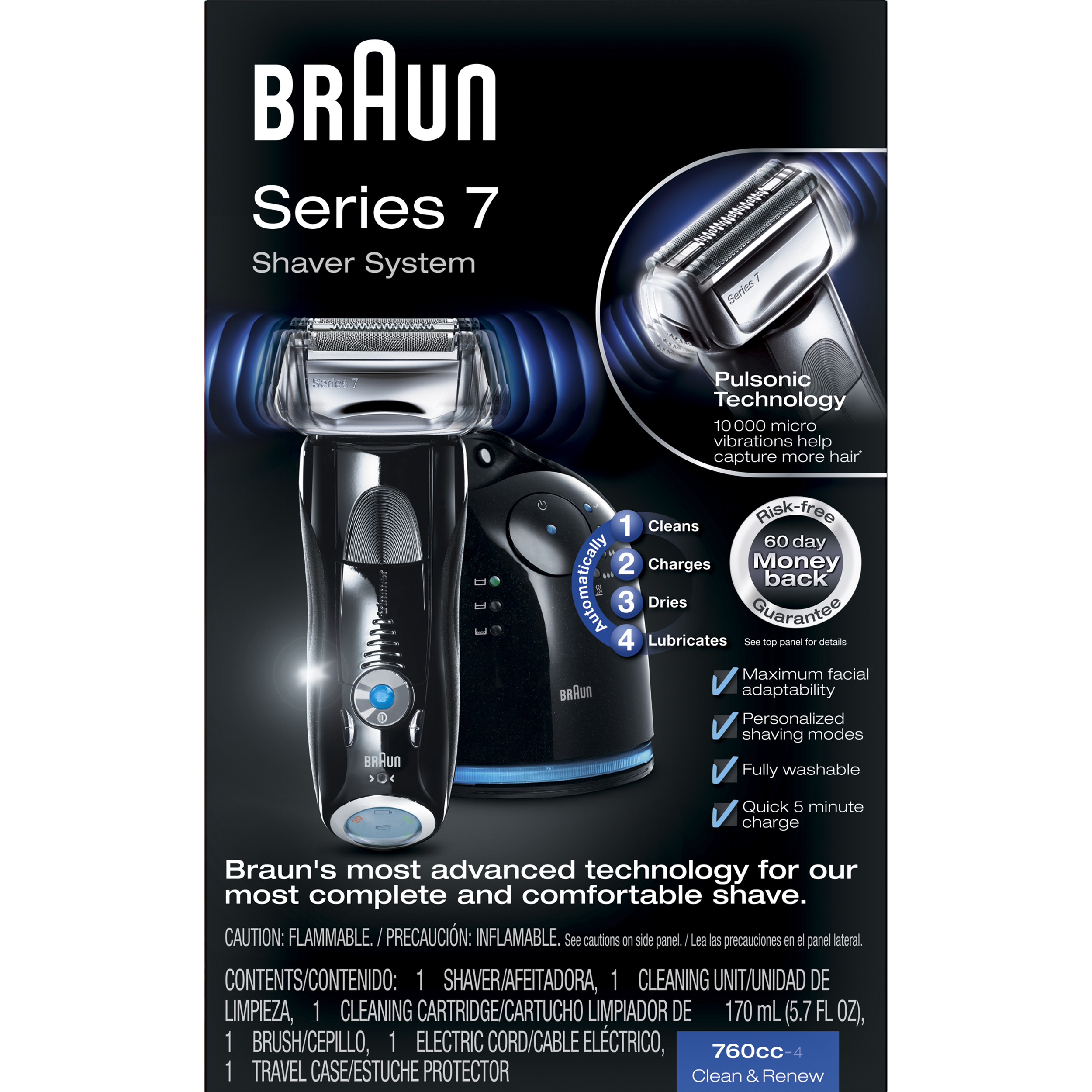 Braun Series 7 760cc-4 Electric Foil Shaver with Clean & Charge Station