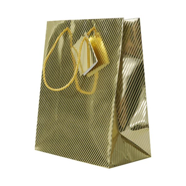 "JAM Paper Gift Bag, Diagonal Pinstripe Shopping Bags, Medium, 8"" x 10"" x 4 1/2"", Gold Foil, Sold Individually"