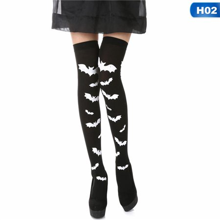 AkoaDa 1Pair Skeleton Bone Foot Socks Halloween Over The Knee Costume High Stockings Socks