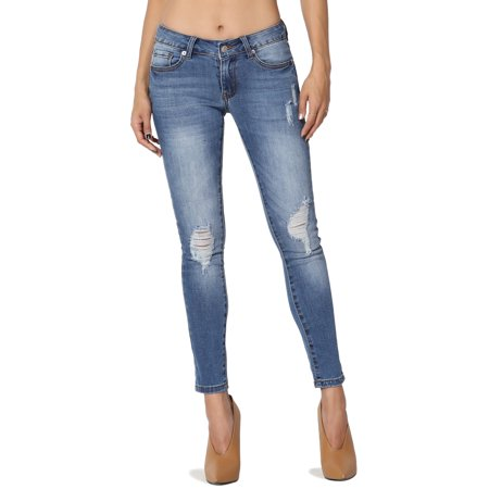 Low Rise Cropped Stretch Jeans (TheMogan Women's Low Rise Ripped Stretch Soft Denim Cropped Super Skinny)