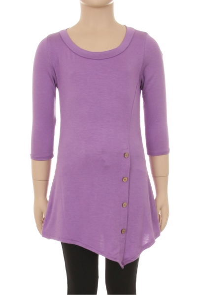 Children's Trendy Style 3/4 Sleeves Solid Knit Dress
