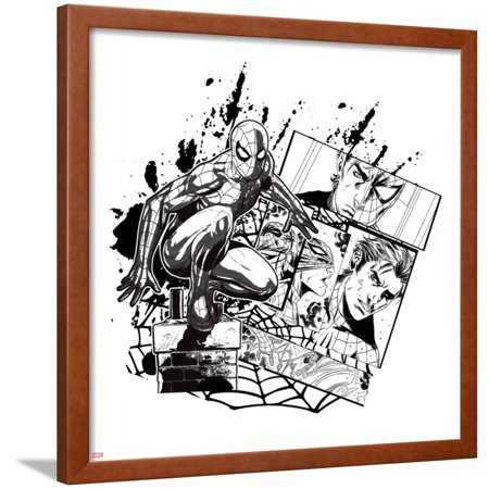 Spider-Man Badge: Panels, Web, and Splatter, Spider-Man Crouching Framed Poster Wall Art