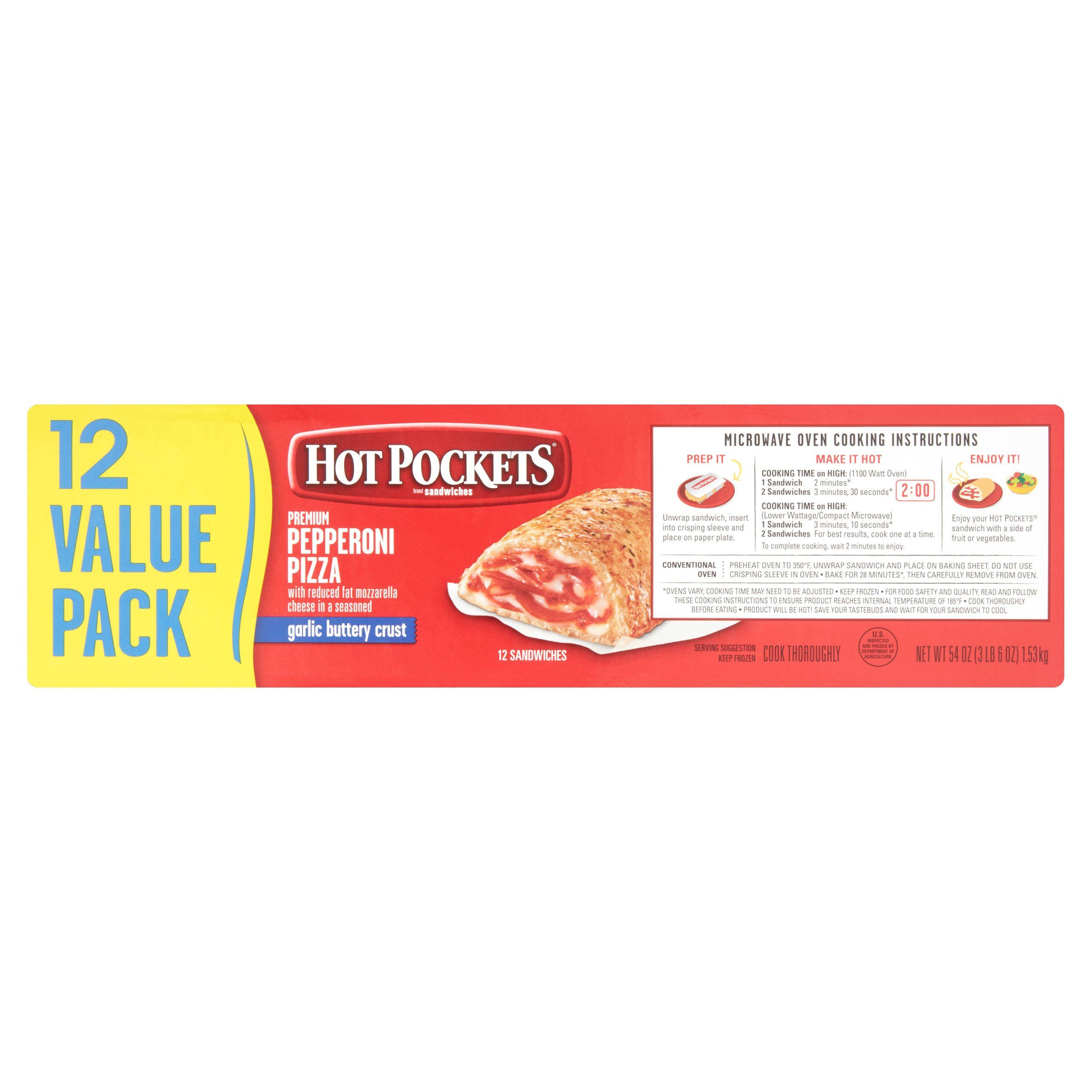 Nestlé Hot Pockets Sandwiches Premium Pepperoni Pizza Value Pack 12 Count 54 Oz