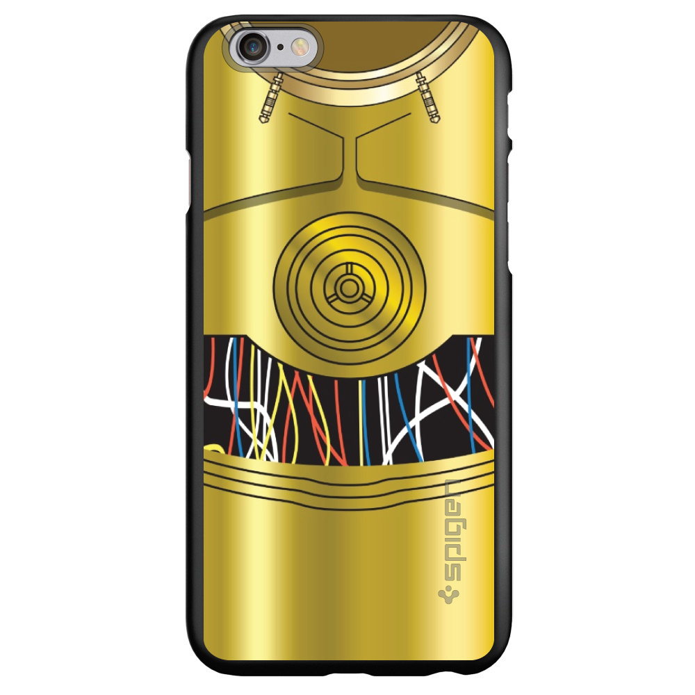 """CUSTOM Black Spigen Thin Fit Case for Apple iPhone 6 PLUS / 6S PLUS (5.5"""" Screen) - C3PO-inspired gold with wires"""