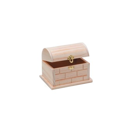 - Wood Chest with Hinged Lid and Clasp: 5.11 x 3.5 x 3.8 inches