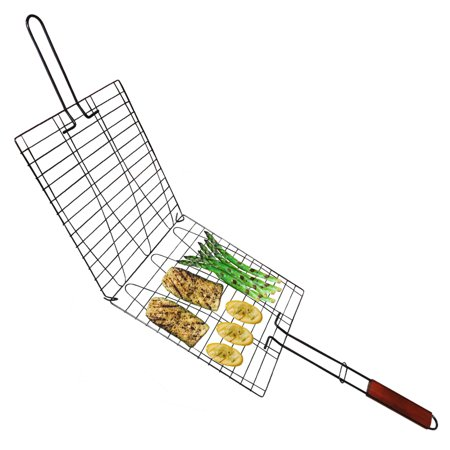 Evelots wire non stick triple fish vegetable basket wood for Fish wire walmart