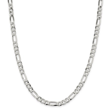 925 Sterling Silver 7.5mm Polished Flat Figaro Chain 24 Inch - image 5 of 5