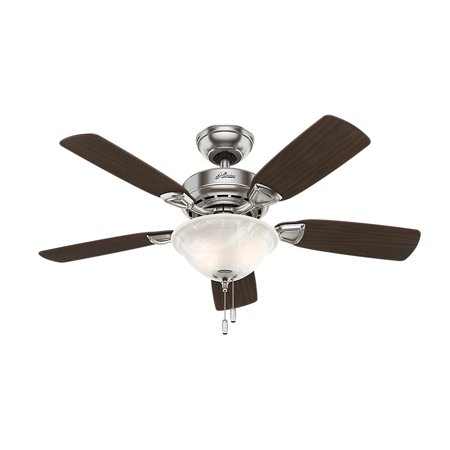 "Hunter 44"" Caraway Five Minute Fan Brushed Nickel Ceiling Fan with Light"