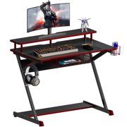 HOMOOI Gaming Desk with Cup Holder and Headphone Hook, Workstation Computer Table for Home Office