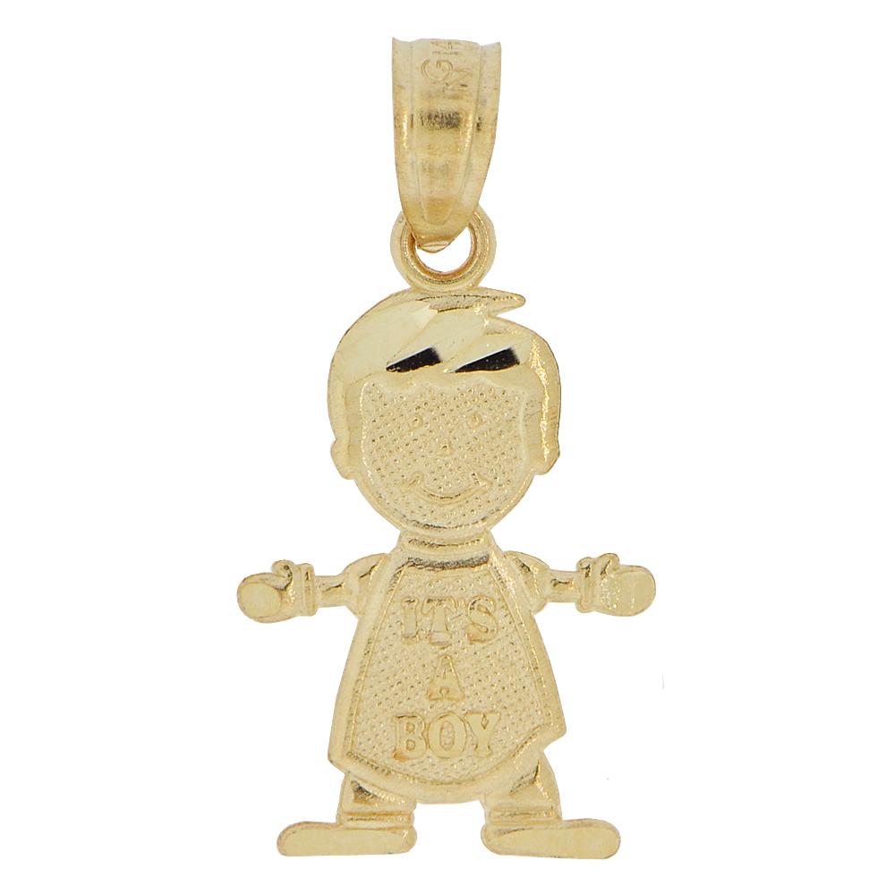 White Gold Baby Charm Pendant It/'s A Boy!