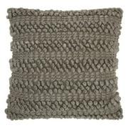 "Nourison Life Styles Woven Stripes Decorative Throw Pillow, 20"" x 20"", Silver Grey"