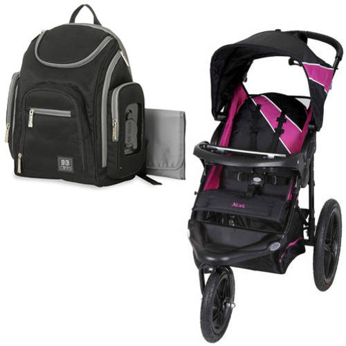 Baby trend xcel jogging stroller, raspberry with Diaper Bag Value Bundle