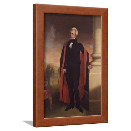 Painting of President Andrew Jackson Standing Framed Print Wall Art By Stocktrek -