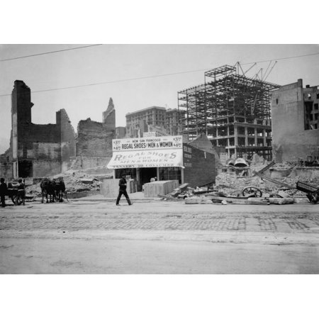 Halloween Stores In San Francisco (A New Shoe Store At 822 Market St Is Open For Business In San Francisco In 1906 In The Background A Steel Frame Building Is Under Construction Amid The Ruins)