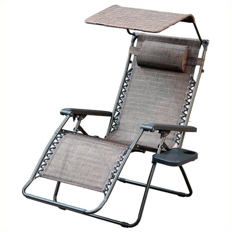 Jeco Oversized Zero Gravity Chair with Sunshade and Drink Tray in Brown Mesh
