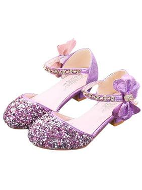 KidPika Kids Girls Sequin Bowknot Princess High Heel Shoes Kids Glitter Dance Party Performance Wedding Shoes