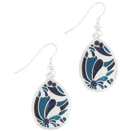 Blue Enamel Floral Flower Teardrop Dangle Earrings 1 3/4""