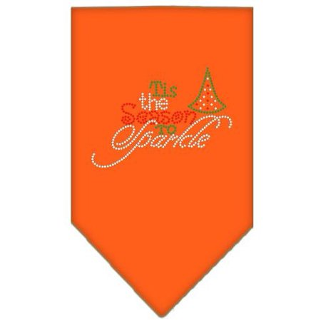 Tis The Season To Sparkle Rhinestone Bandana Orange Large