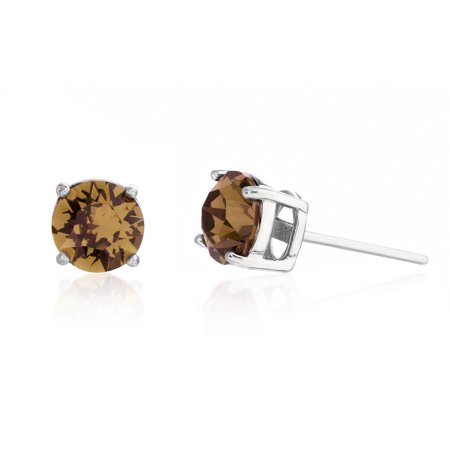 Lesa Michele Women's Faceted Crystal 6MM Stud Earrings in Rhodium Plated Sterling Silver Made With Swarovski Crystals (Color: Simulated Smokey Topaz)