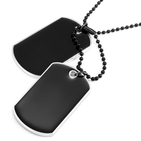 Powerful Army Style Double Dog Tag 2pcs Pendant Mens Necklace, Biker Adjustable 27 inch Black Chain