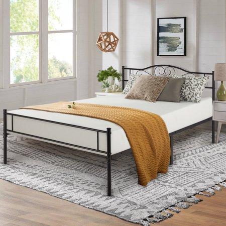 VECELO Queen Size Metal Bed Frame With Headboard Platform Bed Frame,Non-slip,Black