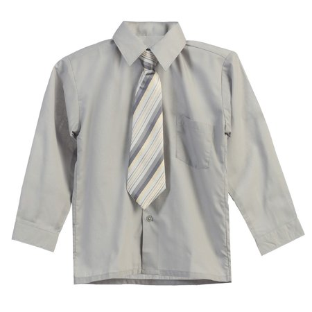 Big Boys Gray Stripe Tie Long Sleeve Button Special Occasion Dress Shirt