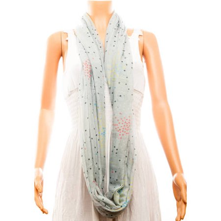 Celik Women's Infiniti Scarf Delicate and Sheer Dot Pattern On Solid Color Background
