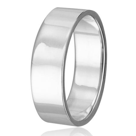 High Polished Sterling Silver 6MM Plain Flat Wedding Band Ring Size 12