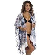 Women's Swimsuit Cover Up - Elephant Print Beachwear Oversized Kimono Tunic (Burgundy)