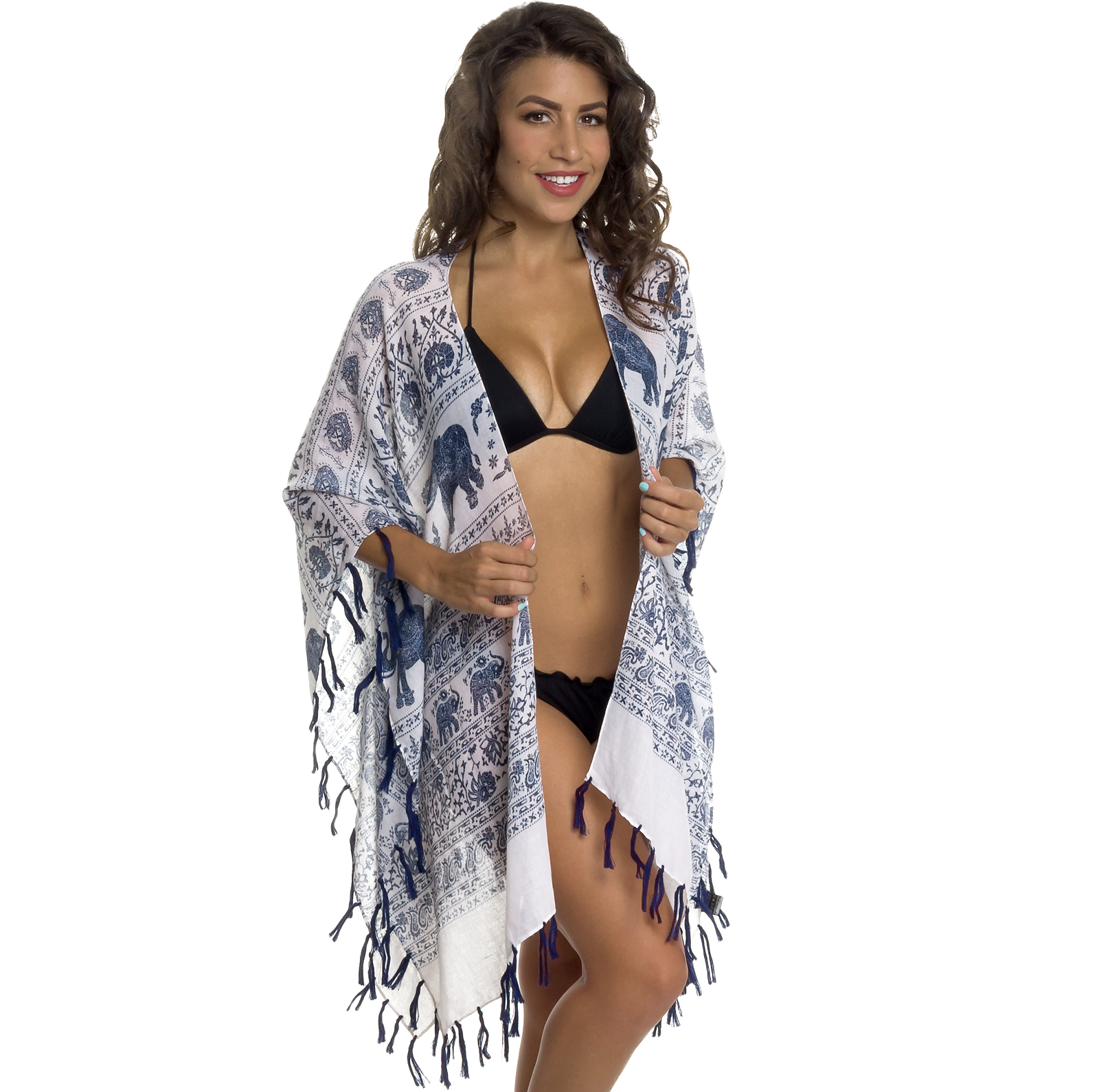 Women's Swimsuit Cover Up - Elephant Print Beachwear Oversized Kimono Tunic (Burgundy)