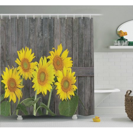 Sunflower Decor Shower Curtain Set, Helianthus Sunflowers Against Weathered  Aged Fence Summer Garden Photo Print - Sunflower Decor Shower Curtain Set, Helianthus Sunflowers Against