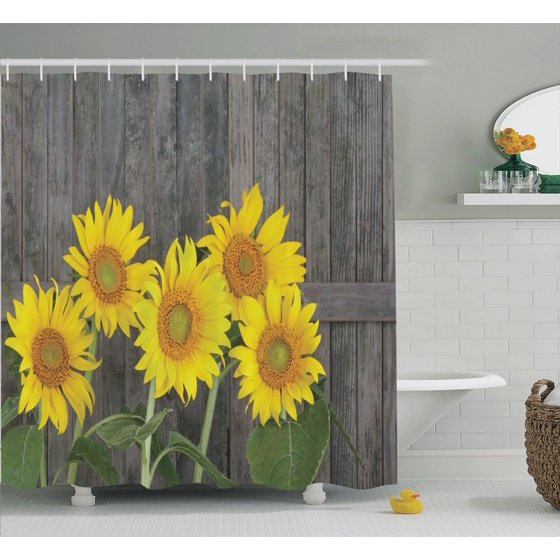 Sunflower decor shower curtain set helianthus sunflowers for Summer bathroom decor