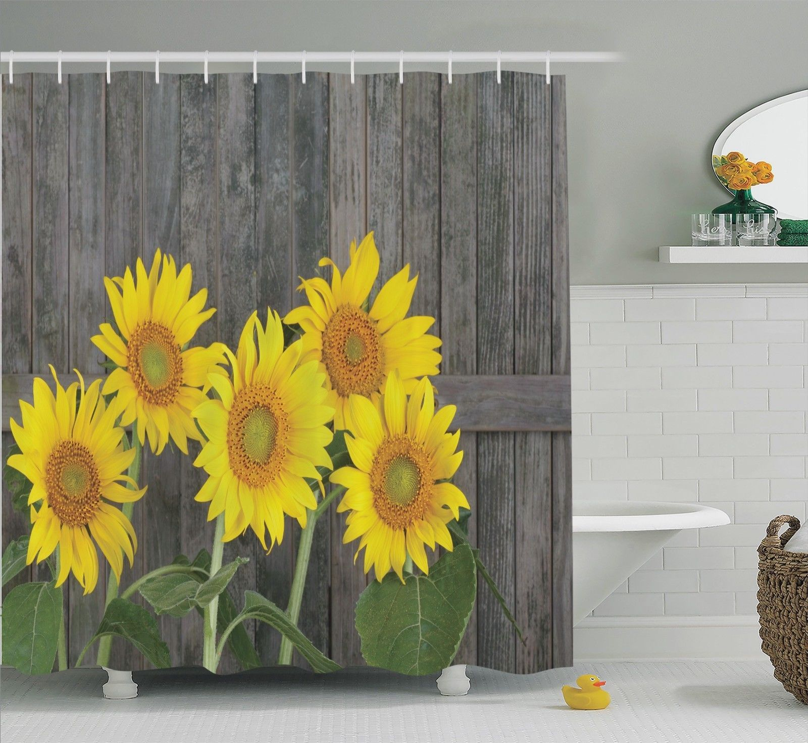 Sunflower Decor Shower Curtain Set, Helianthus Sunflowers Against Weathered Aged Fence Summer Garden Photo Print, Bathroom Accessories, 69W X 70L Inches, By Ambesonne