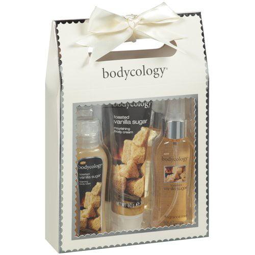 Bodycology Toasted Vanilla Sugar Shower Gel & Foaming Bath/Body Cream/Fragrance Mist Gift Set, 3ct
