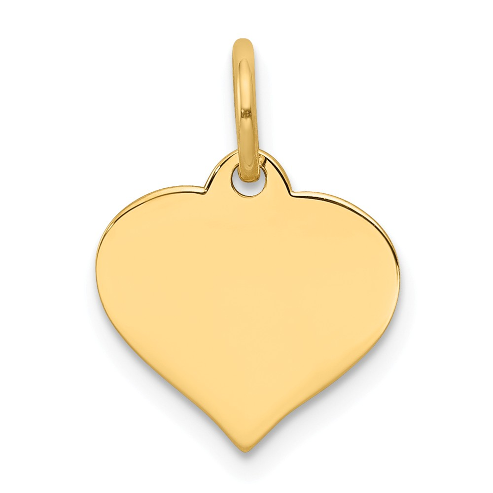 14k Yellow Gold Engravable Heart Disc Charm (0.7in long x 0.5in wide)