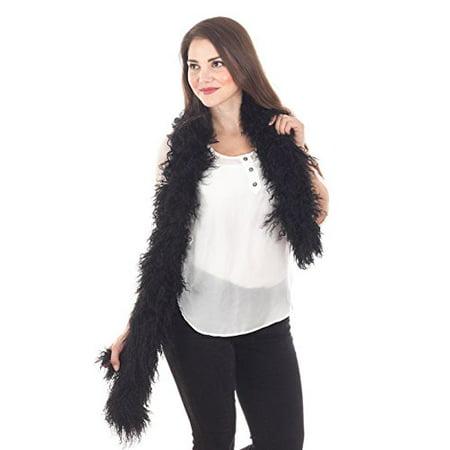 StylesILove Mongolian Lamb Fur Ultra Soft Scarf - 6 Color (Black)