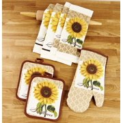 Kitchen Linen Sunflower Theme Set with Towels, Mitt, and Pot Holders - 7 Pieces