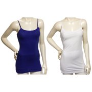 Womens 2Pack White/Blue Cotton Tank Top Camisole Spaghetti Strap (Small)