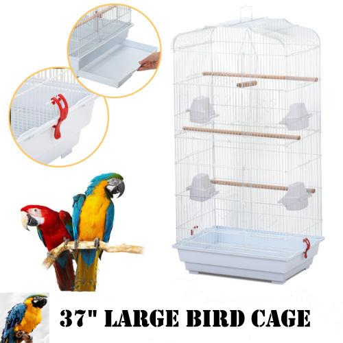 "Ktaxon 37"" Large Bird Parrot Cage Canary Parakeet Cockatiel LoveBird Finch Bird Cage w/Wood Perches & Food Cups- White"