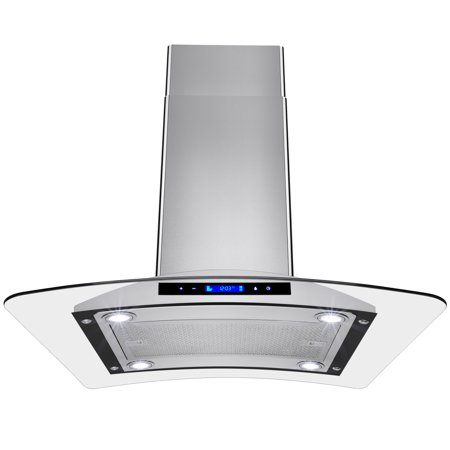 "Image of AKDY 30"" Europe Stainless Steel Island Mount Range Hood Stove Vent w/ Touch Control Panel"
