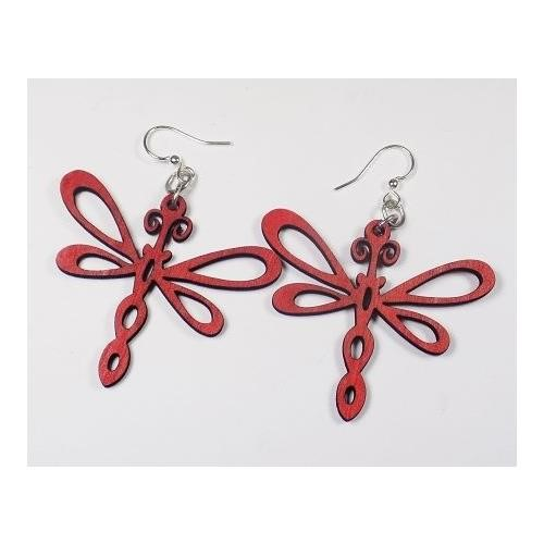 Green Tree Jewelry Dragonfly Earrings #1242 Cherry Red