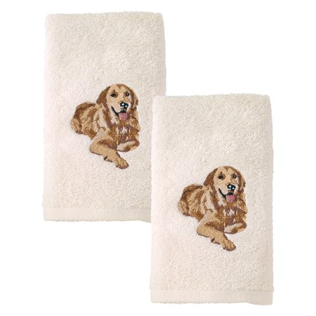 Golden Retriever Embroidered Hand Towel 2 Pack Ivory