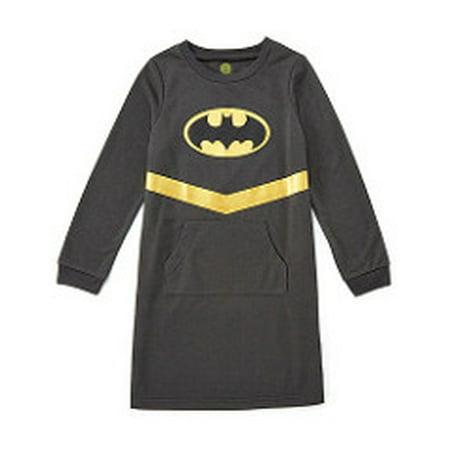 DC Girls 'Batman Batgirl Superhero Logo' Costume Cozy Pajama, Black, 4/5 (Girls Superhero Pajamas)