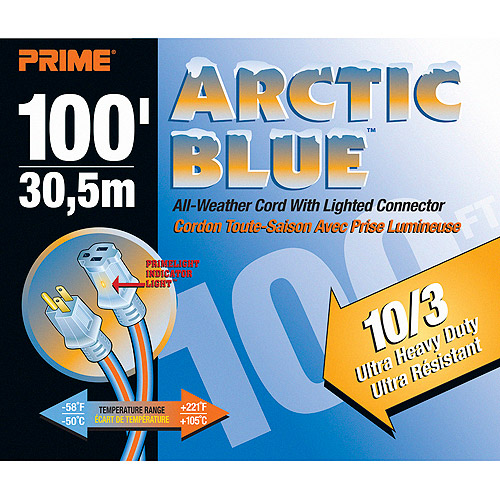 Prime Ultra Heavy Duty 100-Foot Arctic Blue All-Weather TPE Extension Cord