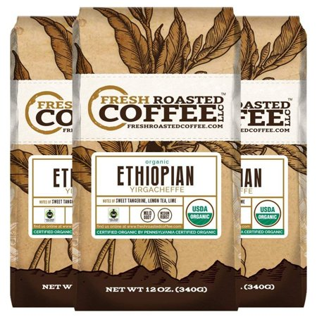 Organic Ethiopian Yirgacheffe Fair Trade Coffee, 12 oz. Ground Bags, Fresh Roasted Coffee LLC. (3 Pack) Organic Fair Trade