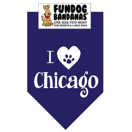 Fun Dog Bandana - I Love Chicago - One Size Fits Most for Med to Lg Dogs, Navy Blue pet scarf