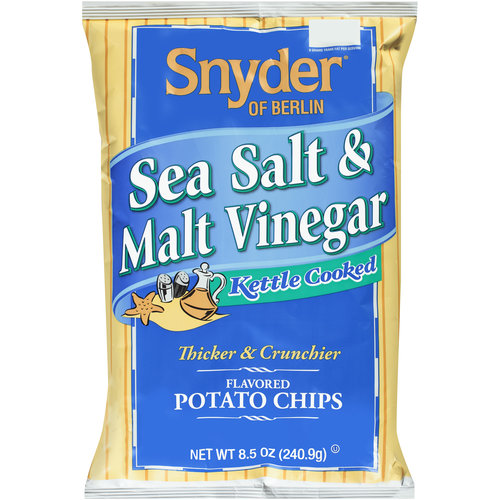 Snyder of Berlin Sea Salt & Malt Vinegar Kettle Cooked Potato Chips, 8.5 oz